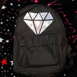 BRAND NEW Black Backpack with Holographic Jewel